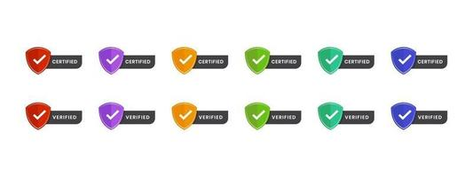 Certified, verified text with icon vector illustration. Logo shield badge editable space text in colorful design.