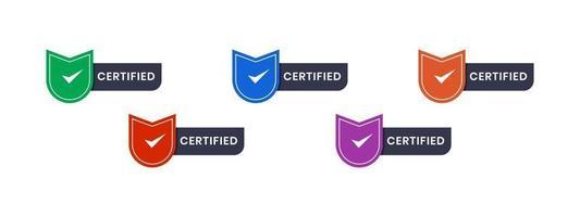 texto certificado con ilustración de vector de escudo de icono. texto de espacio editable de insignia de logotipo en diseño colorido. Plantilla de diseño de rótulo de empresa digital.