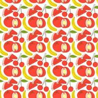 pattern seamless with fruit element watermelon, banana, cherry. Fruits seamless pattern. Vector flat Illustrations of watermelon, tomato, cherry for web, print and textile