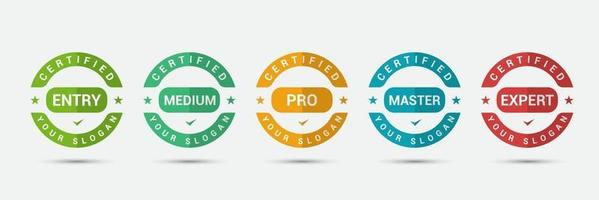 Logo badge for standard certified training criteria company. Business certification label design vector template.