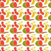 pattern seamless with fruit element. Doodle watermelon, banana, cherry elements. Vector seamless pattern. Hand drawn illustrations.