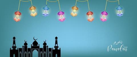 eid mubarak saludo banner ramadan kareem vector deseando islámico de vector
