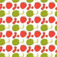 fruit pattern with coloring melon, strawberry and cherry element. Seamless pattern with watermelons and strawberries. vector
