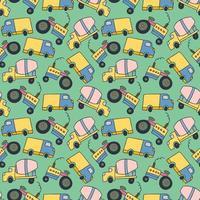 vehículo de carga de elemento de patrón. vector de patrones sin fisuras de dibujos animados de vehículos de construcción
