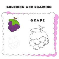 coloring and drawing book element grape. Grape Coloring Book, Coloring Page vector
