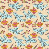 seamless pattern aircraft. Seamless space pattern. Planets, rockets cartoon spaceship icons. Kid's elements for scrap-booking. Childish background. Hand drawn vector illustration.