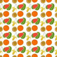 seamless wrapping fruit elements. Retro style fruit watermelon, banana, orange seamless pattern vector