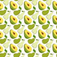 seamless wrapping paper with avocado, mango, pear elements. Seamless pattern with creative modern fruits. Hand drawn trendy background. Great for fabric and textile. Vector Illustration