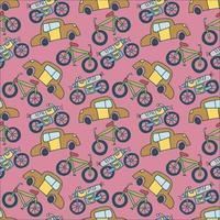 seamless pattern vehicle. cute kids hand drawn doodle truck car transport seamless pattern vector