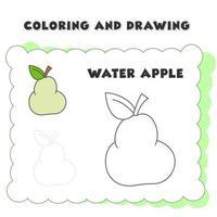 libro para colorear y dibujo elemento agua manzana vector