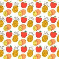 Hand drawn vector illustration - seamless pattern with colorful doodle fruits and berries. Original decorative background for your design, textile, wrapping