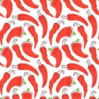red chilli Seamless pattern with on a white background. Vector illustration of ingredients for food background in a flat doodle style.