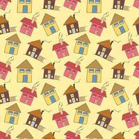 niños sin fisuras patrón con elemento de colorante de doodle de inicio. patrón de casa vectorial, lindas casas coloridas, decoración infantil divertida, patrón sin costuras, diseño textil para niños vector