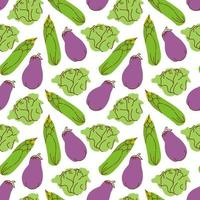 Seamless pattern vegetables with elements of eggplant, corn, cabbage Vector illustration