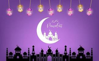 Eid mubarak saludo vector de ramadan kareem que desea festival islámico para pancarta, póster, fondo