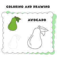 elemento de libro para colorear y dibujar aguacate. libro de colorear. dibujado a mano vector