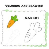 coloring and drawing book element carrot. Hand Drawn Vegetables Illustration for Educational Coloring Book Design - Vector Outline Cartoon