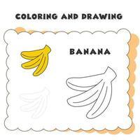 plátano para colorear y dibujar. Ilustración de vector de plátano. b para plátano. icono de plátano para colorear libro. vector de plátano para que los niños practiquen el libro de dibujo.