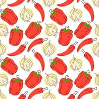 Seamless pattern with garlic, chili peppers, paprika on a white background. Vector illustration of ingredients for food background in a flat doodle style.