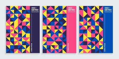 Geometric minimal covers design set with colorful shapes