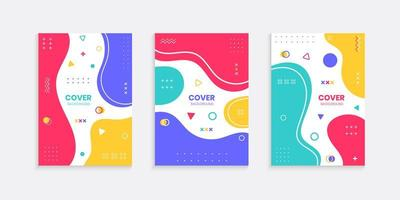 Colorful cover background set with memphis style