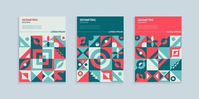 Retro geometric cover design set