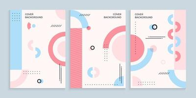 Memphis covers background collection in pastel colors
