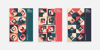 Retro geometric cover design template