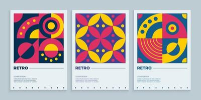 Geometric retro covers design set, Colorful abstract covers collection