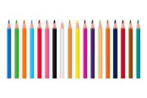 Colorful Pencils Collection. Set of Eighteen Colorful Pencils vector