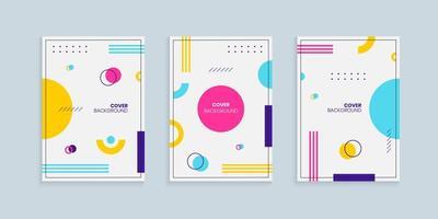 Memphis style cover design template set