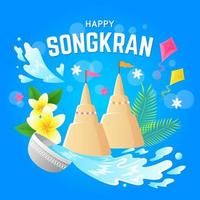 Songkran Festival Theme Background vector