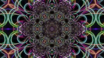 fundo de caleidoscópio abstrato com padrão de néon video