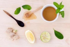 Top view of honey and lime tea photo