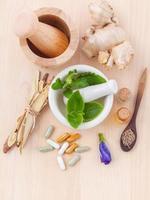 Top view of herbal healthcare