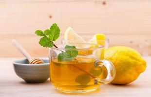 Mint, lemon, and honey tea