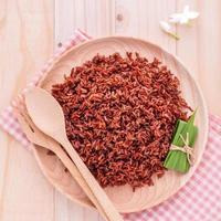 Whole grain rice on a plate photo