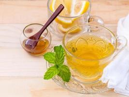 Herbal tea with mint, lemon, and honey