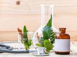 Alternative healthcare with fresh herbs photo