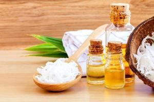Salt and essential oils photo