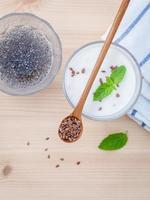 Top view of flax seed yogurt photo
