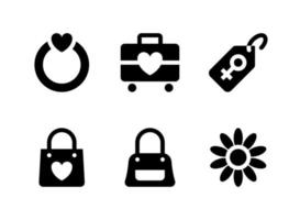 simple conjunto de iconos sólidos vectoriales relacionados con el día de la mujer. contiene iconos como anillo, equipaje, etiqueta de compra, bolso y más. vector