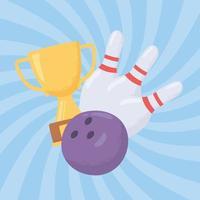 bola de boliche, trofeo y bolos vector