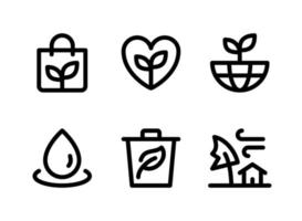 Simple Set of Ecology Related Vector Line Icons. Contains Icons as Eco Bag, World, Water Drop, Trash and more.