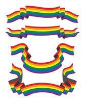 cuatro cintas de estilo de la bandera del arco iris para el conjunto de personas lgbt vector