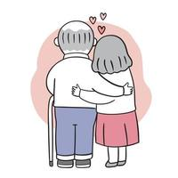 Hand draw cartoon cute Valentine day. Older couple hugging vector.