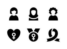 simple conjunto de iconos sólidos vectoriales relacionados con el día de la mujer. contiene iconos como mujer, hijab, rizado, amor y más. vector