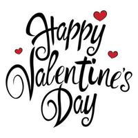 Text of Happy Valentine's Day with decorative heart symbols for Valentine's day theme and background vector