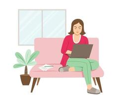 Freelance Woman Online Working with Laptop vector