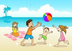 Cartoon illustration of a family having a picnic at the beach vector